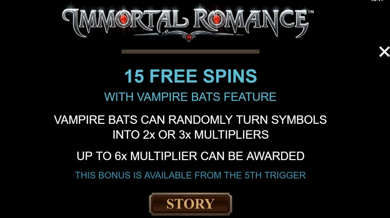 15 free spins to get in immortal romance video slot