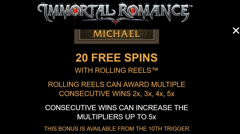 20 free spins to enjoy in immortal romance video slot