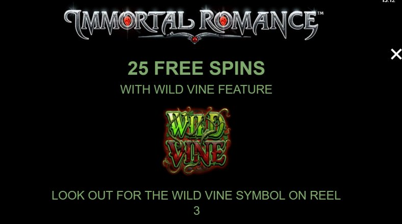 25 free games to use in immortal romance slot machine