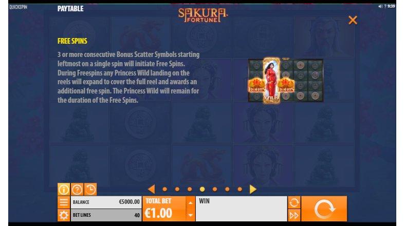 free spins sakura fortune