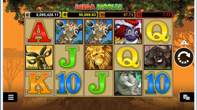 mega moolah interface