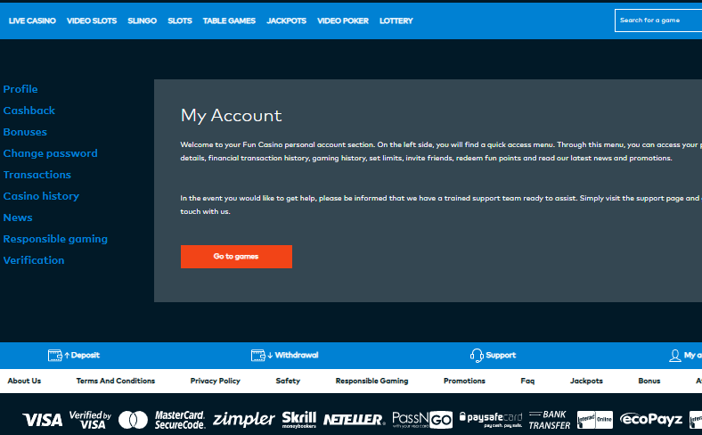 user account fun casino