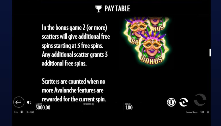 scatter and free spins carnival queen