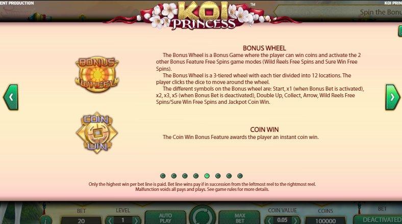 bonus wheel koi princess slot