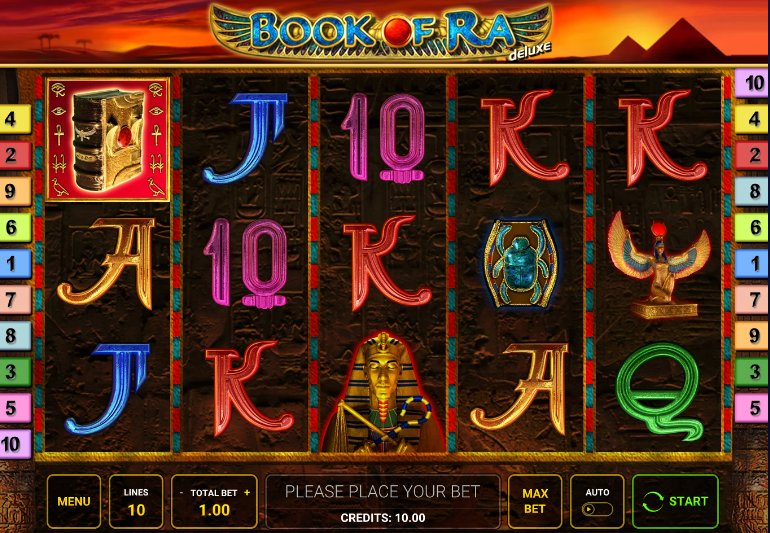 book of ra game interface