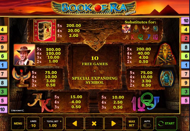 paytable book of ra