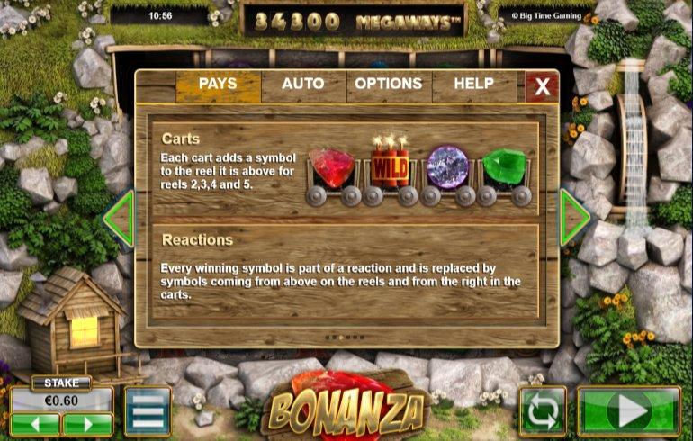 carts feature of bonanza video slots