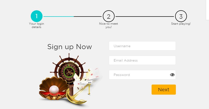 sign up step 1 at casino cruise