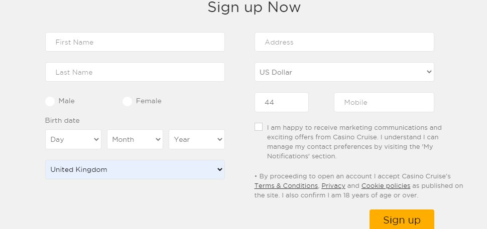 sign up step 2 at casino cruise