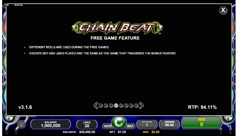free games feature of chain beat slot machine