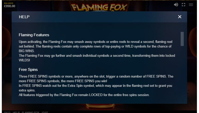 free spins and features in flaming fox
