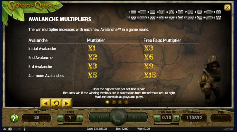 check multipliers in gonzo's quest video slot