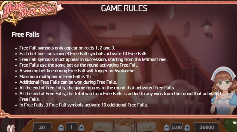 free falls magic maid cafe slot