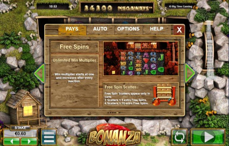 Free spins at Bonanza video slot