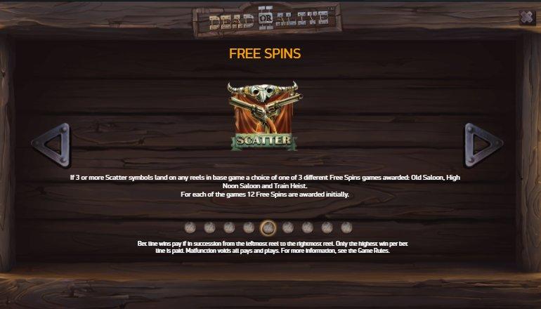 free spins dead or alive slot