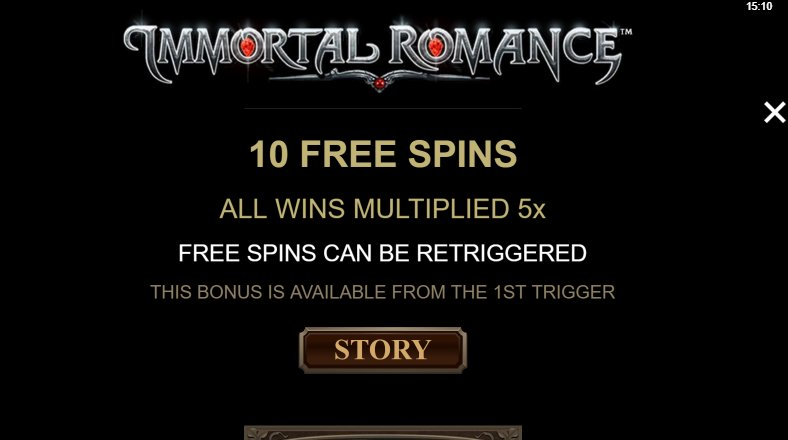 10 free spins feature in immortal romance slot