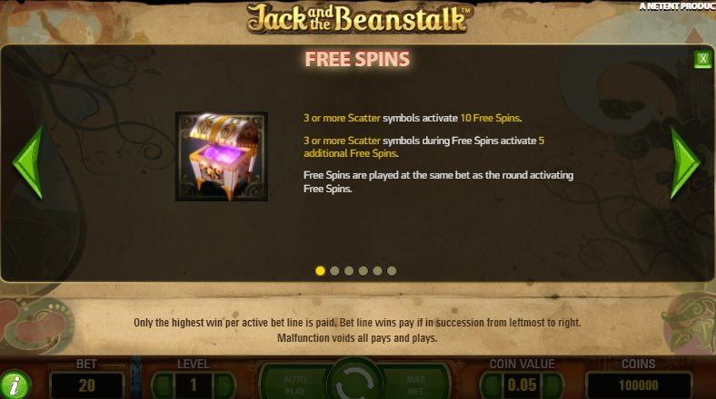 free spins feature jack and beanstalk