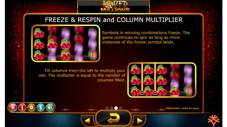 freeze and respin features joker millions