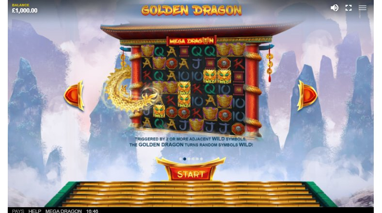 golden dragon feature in mega dragon video slot