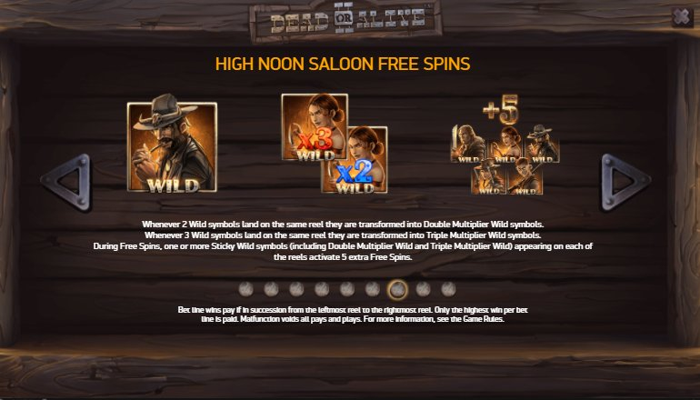 high noon saloon free spins dead or alive