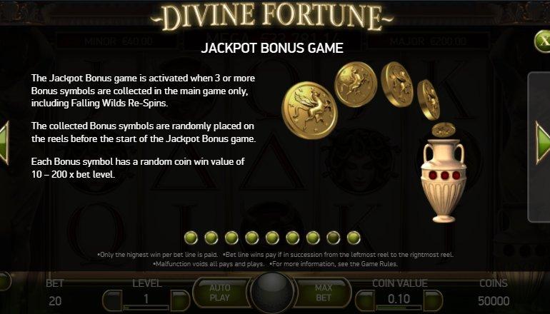 jackpot bonus divine fortune