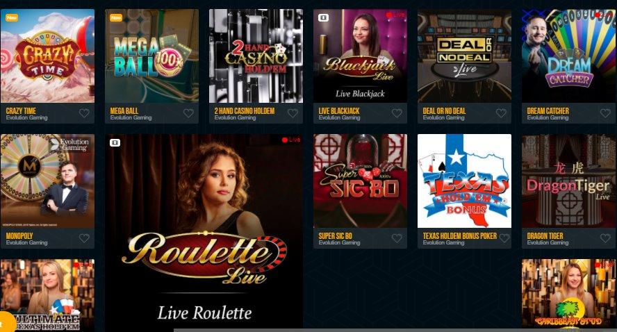 check live casino games at dream vegas