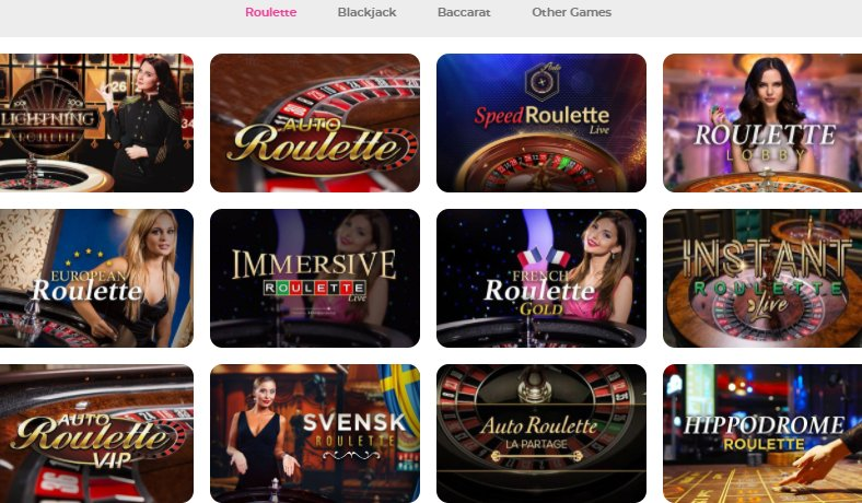 a list of live games at casino joy