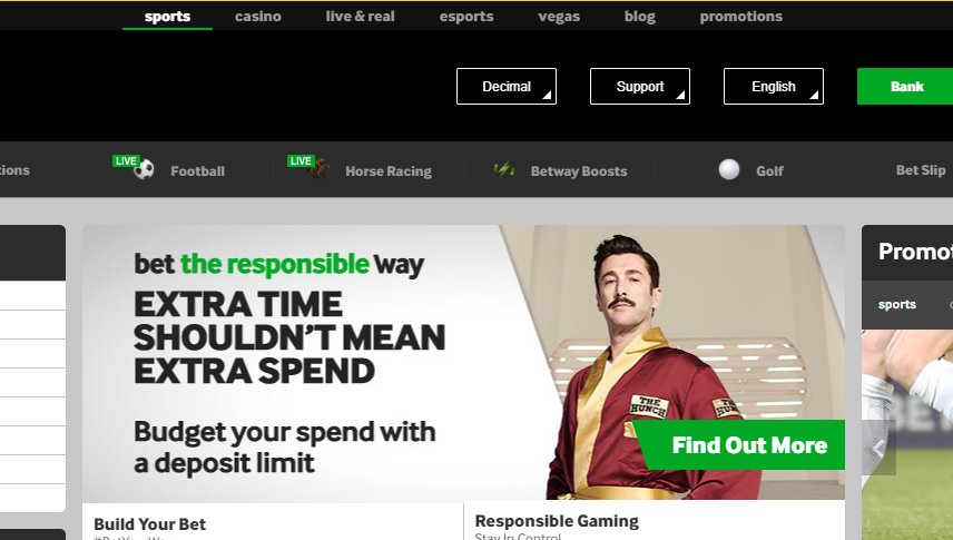 betway lobby interface