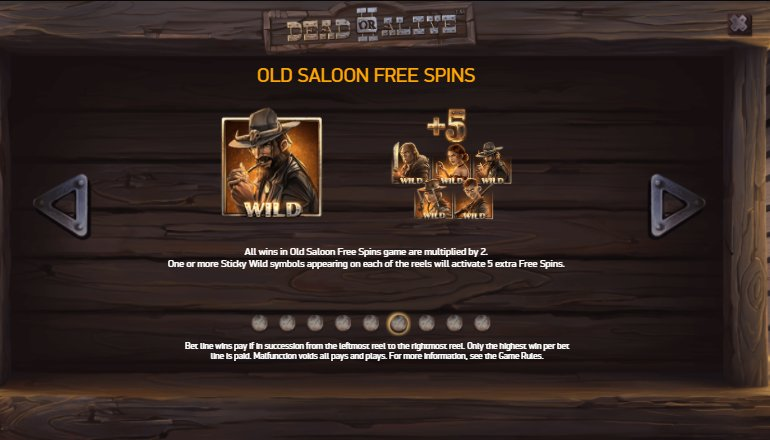 old saloon free spins dead or alive