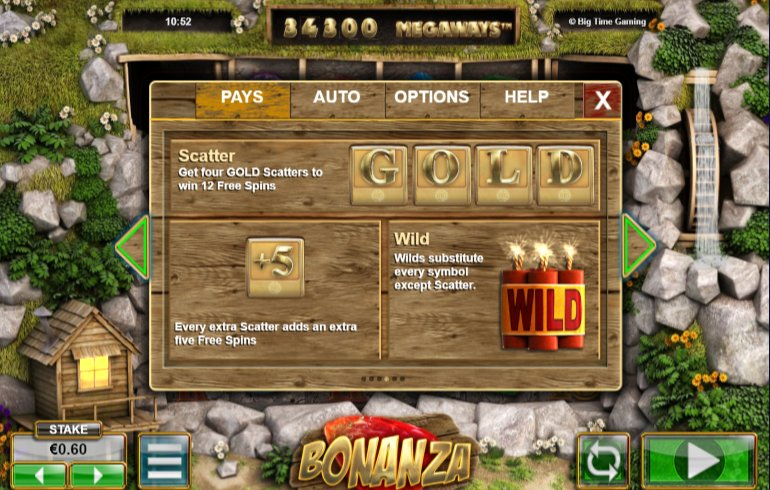bonanza slot scatter that trigger free spins