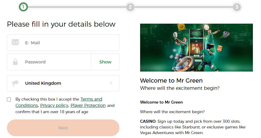 sign up 1 mr green