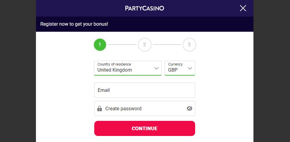 sign up 1 party casino