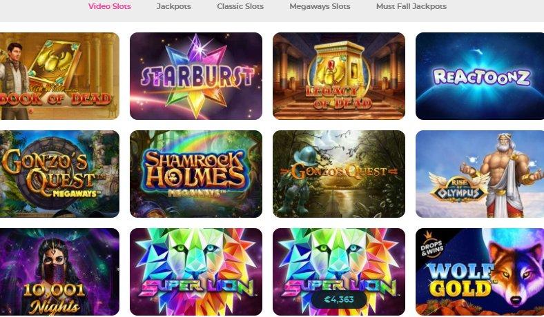 video slots list at casino joy