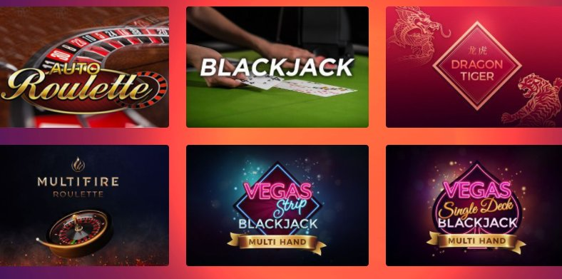 find a collection of table games at casino gods