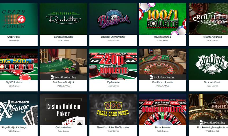 table games fun casino