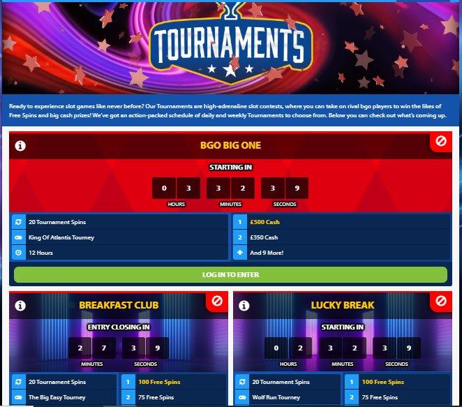 live tournaments at bgo