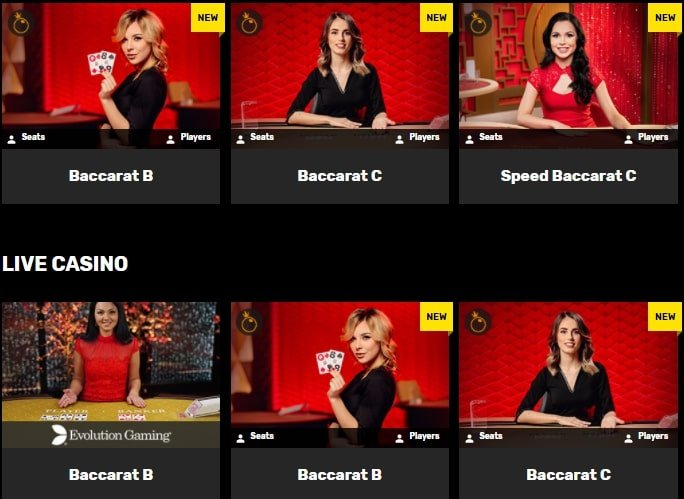 various Live Baccarat at Hyper Casino
