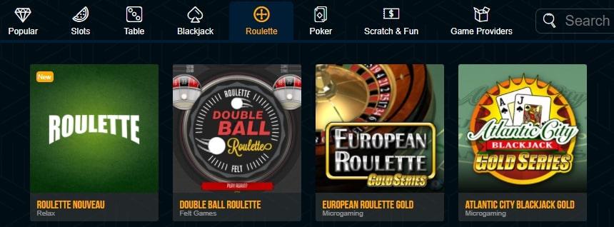 Dream Vegas various versions of Roulette