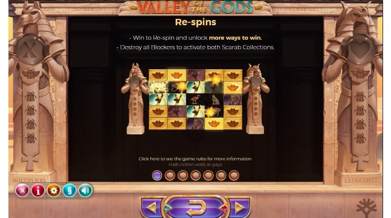 Valley Of The Gods Slot respin features