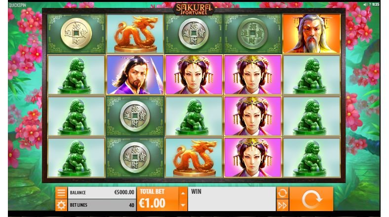 game grid in sakura fortune video slot