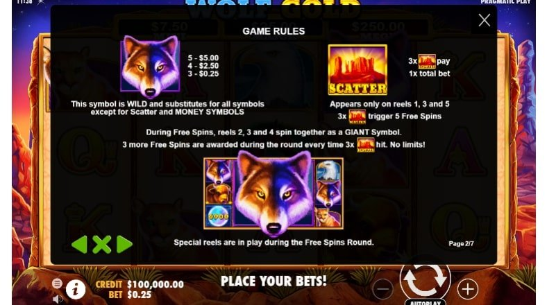 Wolf Gold Slot's Wild and Scatter Symbols