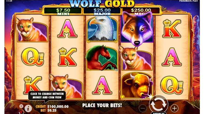 wolf gold game grid