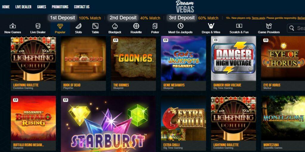 check dream vegas casino games quality