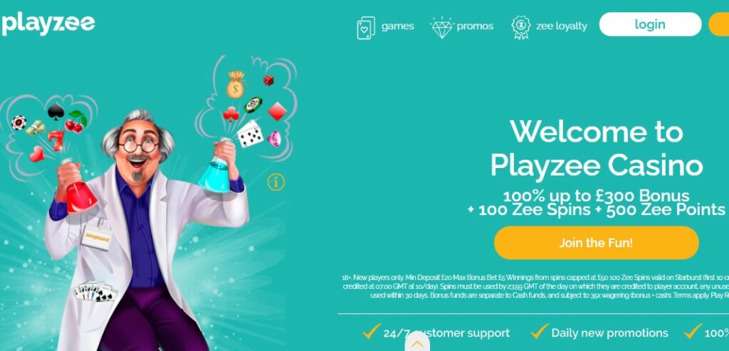 check quality playzee casino gambling games and bonuses for UK players