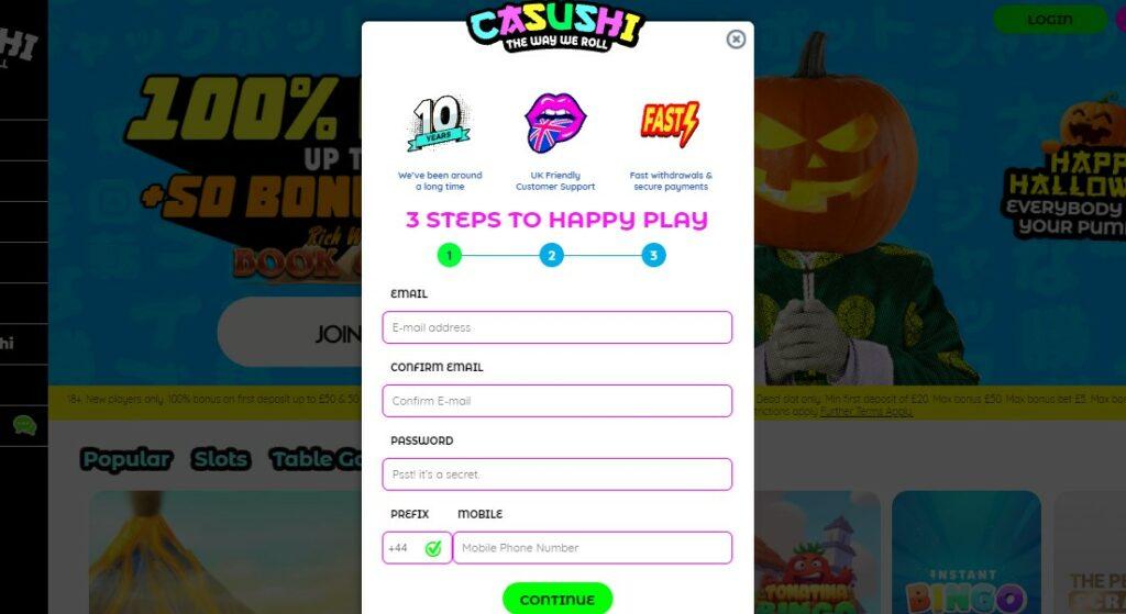sign up 1 at casushi