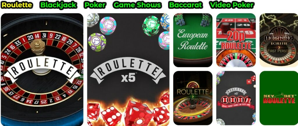 table games collection on the casushi website